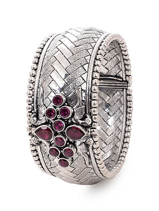 Spinel Ruby Silver Bangle with Peacock Motif (Bangle Size -2/14)