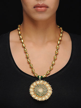 Green Gold Tone Dholki Beaded Silver Necklace