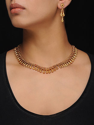 Ruby Gold Tone Silver Necklace with a Pair of Earrings (Set of 2)