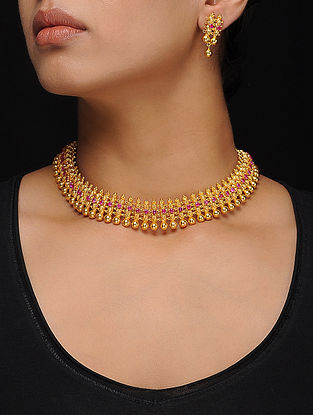 Pink Gold Tone Silver Necklace with a Pair of Earrings (Set of 2)