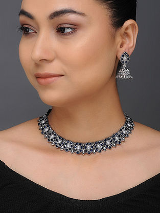 Blue Tribal Silver Necklace with a Pair of Jhumkis (Set of 2)