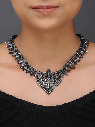 Tribal Silver Necklace with Deity Motif
