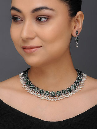 Green Tribal Silver Necklace with a Pair of Earrings (Set of 2)