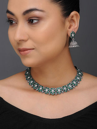 Green Tribal Silver Necklace with a Pair of Jhumkis (Set of 2)