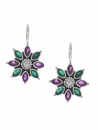 Green-Purple Silver Earrings