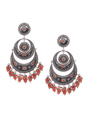 Orange Tribal Silver Earrings