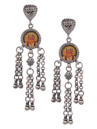 Tribal Silver Earrings with Hand-Painted Lord Ganesha Motif