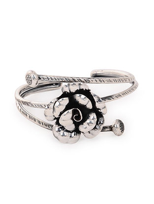 Classic Silver Cuff with Floral Design