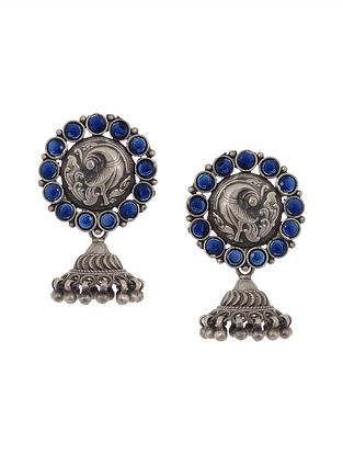 Blue Tribal Silver Jhumkis with Peacock Motif