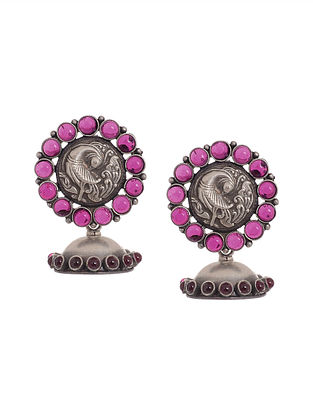 Pink Tribal Silver Jhumkis with Peacock Motif