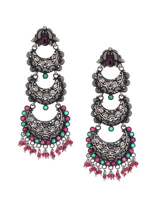 Pink-Green Tribal Silver Earrings with Floral Motif