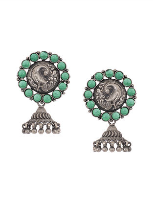 Green Tribal Silver Jhumkis with Peacock Motif