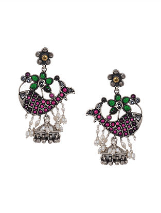 Pink-Green Tribal Silver Jhumkis with Pearls