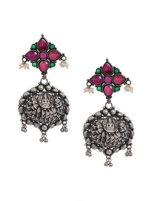 Pink-Green Tribal Silver Earrings with Deity Motif