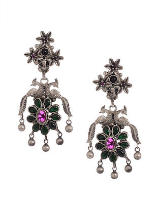 Green-Pink Tribal Silver Earrings with Peacock Design