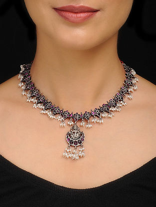 Pink Tribal Silver Necklace with Deity Motif