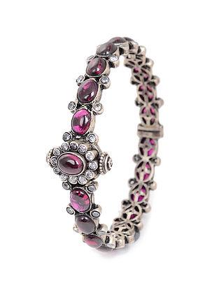 Pink Hinged Opening Silver Bangle (Bangle Size -2/4)
