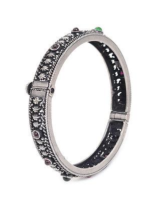 Pink-Green Hinged Opening Silver Bangle (Bangle Size -2/4)