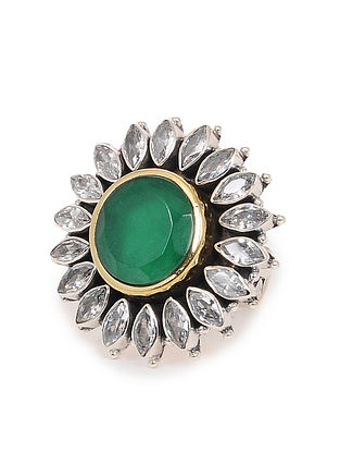 Green Dual Tone Adjustable Silver Ring