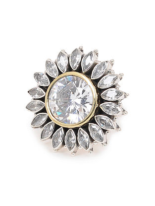 Classic Dual Tone Adjustable Silver Ring