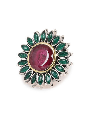 Pink-Green Dual Tone Adjustable Silver Ring