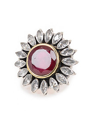Pink Dual Tone Adjustable Silver Ring