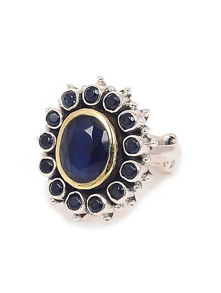 Blue Dual Tone Adjustable Silver Ring