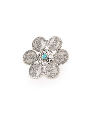 Turquoise Adjustable Silver Ring with Coin Design