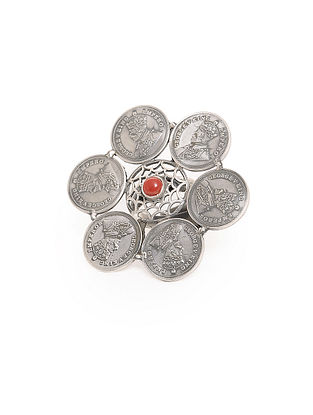 Coral Adjustable Silver Ring with Coin Design