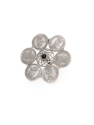 Black Adjustable Silver Ring with Coin Design