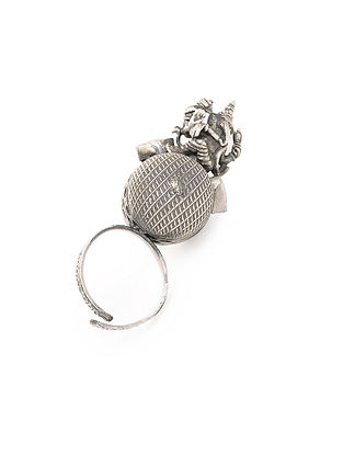 Tribal Silver Adjustable Ring with Lord Ganesha Design