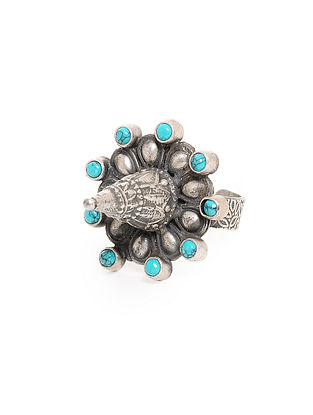 Turquoise Tribal Silver Adjustable Ring