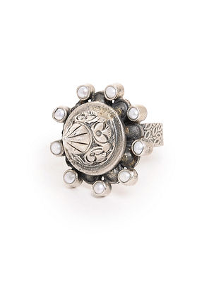 Pearl Tribal Silver Adjustable Ring