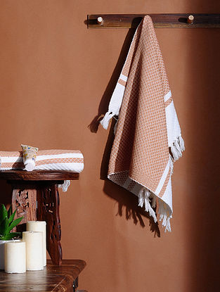 Orange Honeycomb Handloom Cotton Hand Towel (Set of 2) (24in X 18in)
