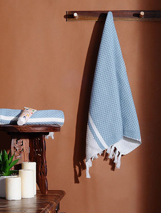 Blue Honeycomb Handloom Cotton Hand Towel (Set of 2) (24in X 18in)