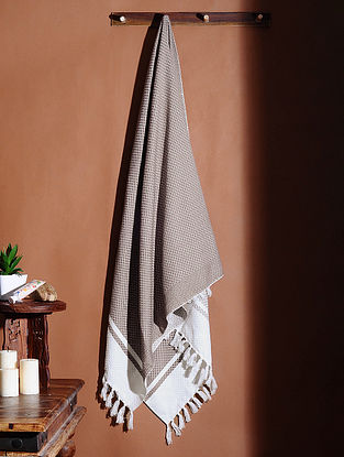 Brown Honeycomb Handloom Cotton Bath Towel (62in X 32in)