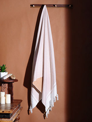 Orange Honeycomb Handloom Cotton Bath Towel (61in X 32in)
