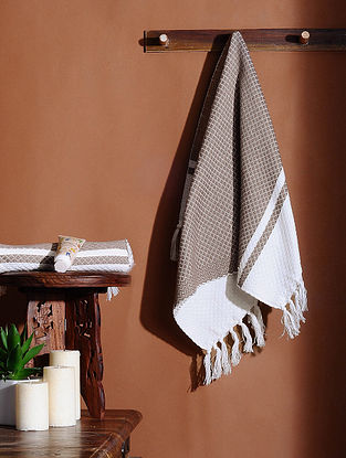 Brown Honeycomb Handloom Cotton Hand Towel (Set of 2) (24in X 18in)