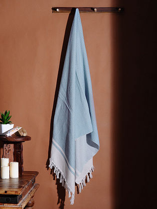 Blue Honeycomb Handloom Cotton Bath Towel (61in X 32in)