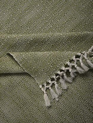 Green Handloom Cotton Double Bedcover (104in x 91in)