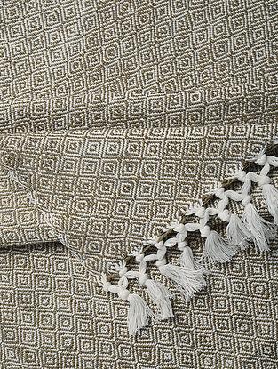 Olive Handloom Cotton Double Bedcover (106in x 91in)