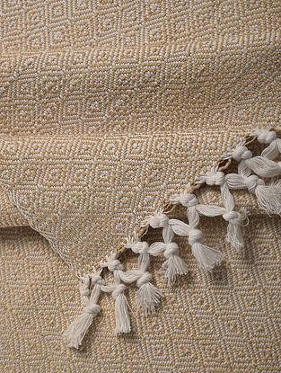 Beige Handloom Cotton Double Bedcover (107in x 91in)