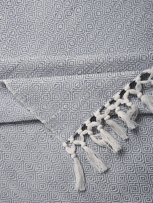 Blue Handloom Cotton Double Bedcover (105in x 90in)