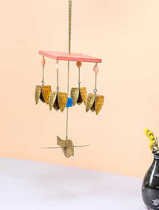 Pink-Blue Brass and Wood Wind Chime with Bird Design (8.5in x 4in)