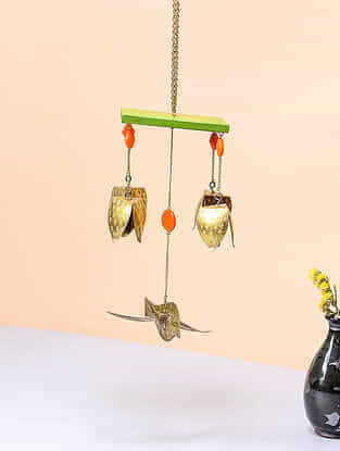Green-Orange Brass and Wood Wind Chime with Bird Design (8.5in x 4in)