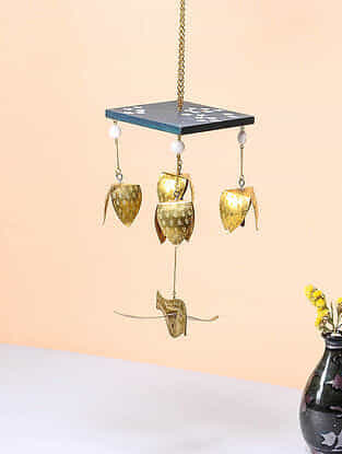 Blue-White Brass and Wood Wind Chime with Bird Design (8.5in x 4in)