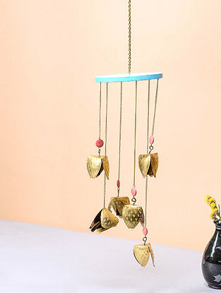 Blue-Pink Brass and Wood Wind Chime with Bird Design (13.5in x 4.5in)
