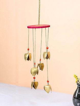 Red-Orange Brass and Wood Wind Chime with Bird Design (13.5in x 4.5in)