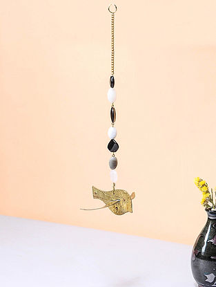Black-Golden Brass and Glass Beaded Wind Chime with Bird Design (3.5in x 4.5in)