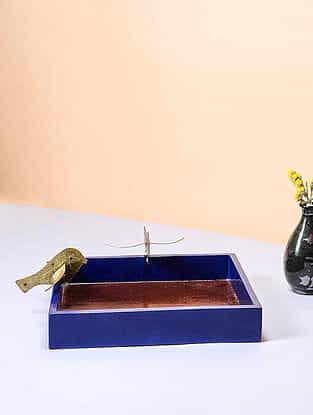 Blue-Golden Wood and Brass Platter with Bird Design